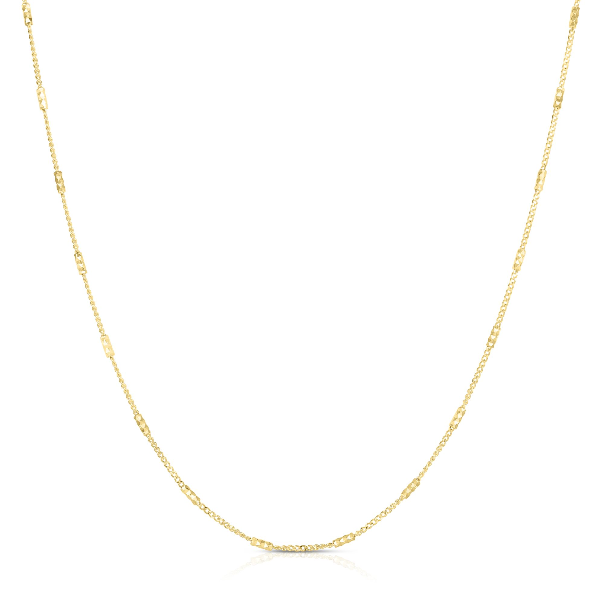 14kt Gold 18 inches Yellow Finish 1.2mm Shiny+Diamond Cut Fancy Bead+Bar Necklace with Spring Ring Clasp