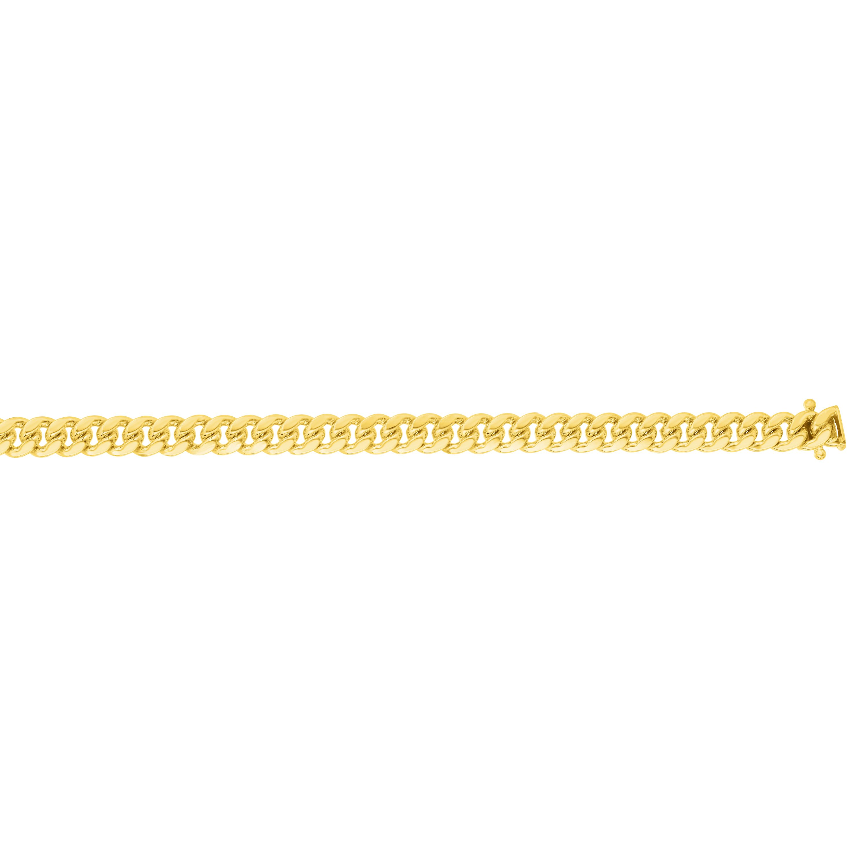 14kt Gold 8.75 inches Yellow Finish 9.2mm Polished New Miami Cuban Bracelet with Box Clasp