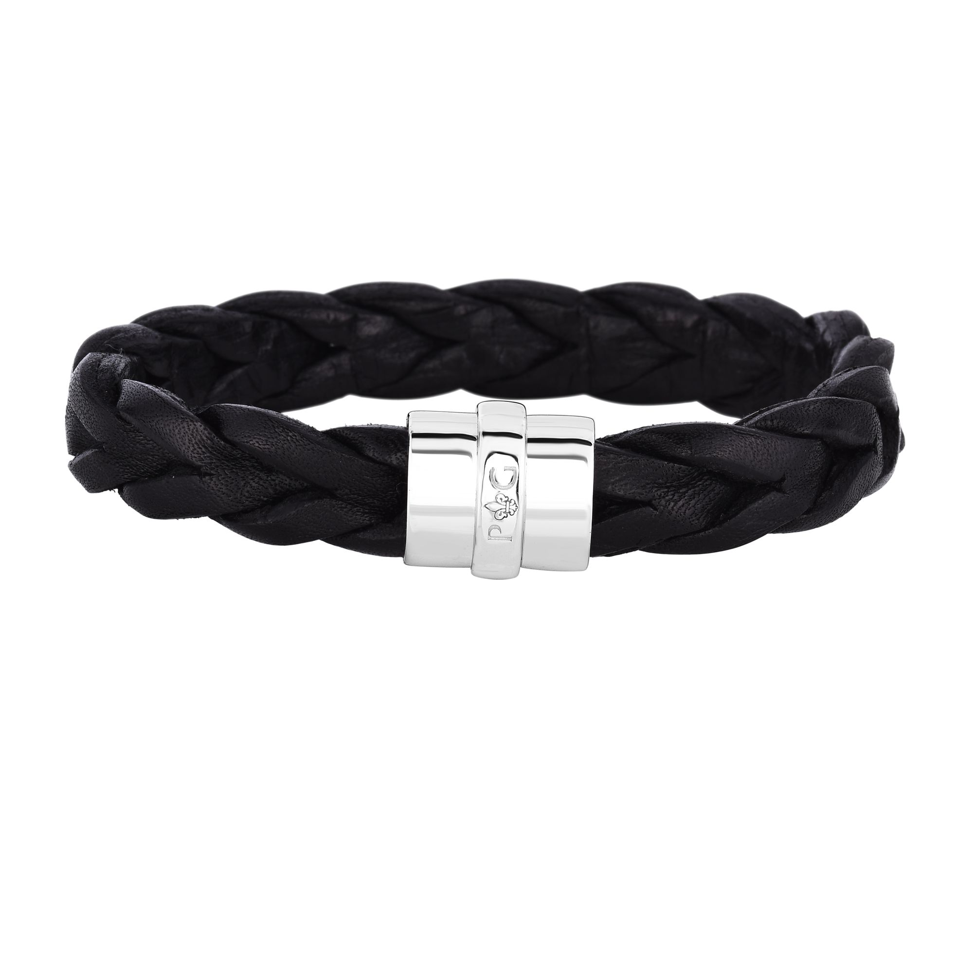 Black Leather 8.5 inches 12mm Braided Bracelet with Sterling Silver