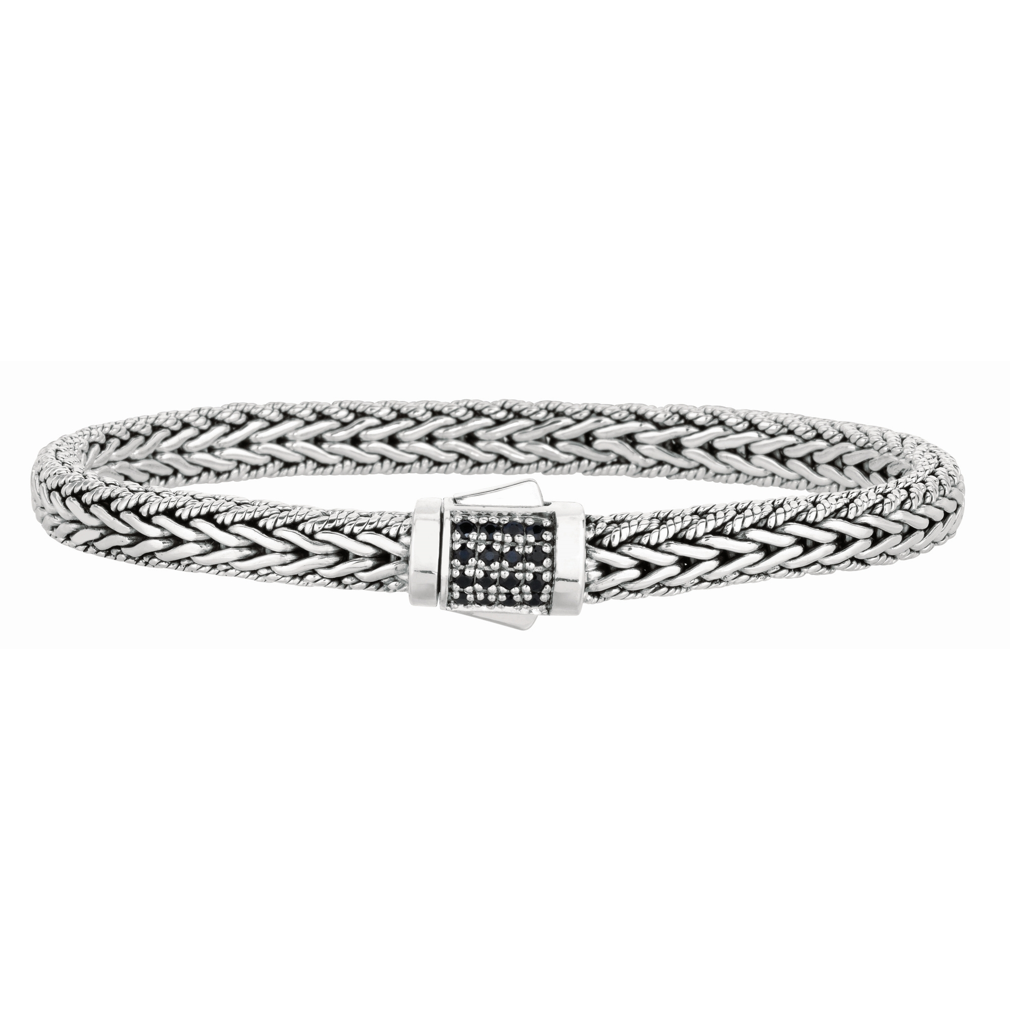 7mm Sterling Silver Narrow Wheat Patterned with Piping Trim 8.2 5 inches Bracelet with Black Sapphire Square Cluster at Clasp.