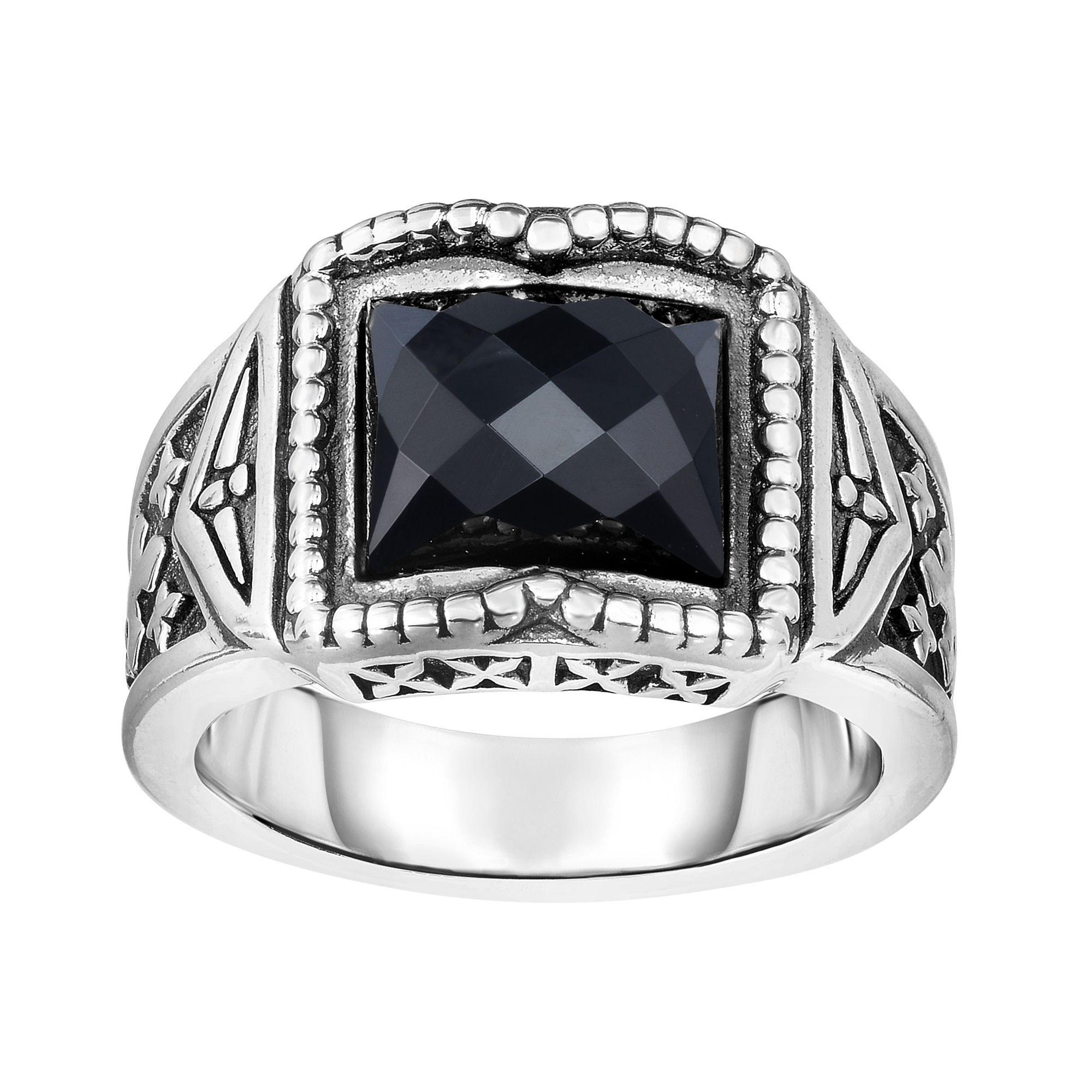 Silver with Oxidized Finish 5-15mm Graduated Mens Ring with 10.6x9.2x5.2mm Black Onyx with Fleur De Lys Symbol Size-9