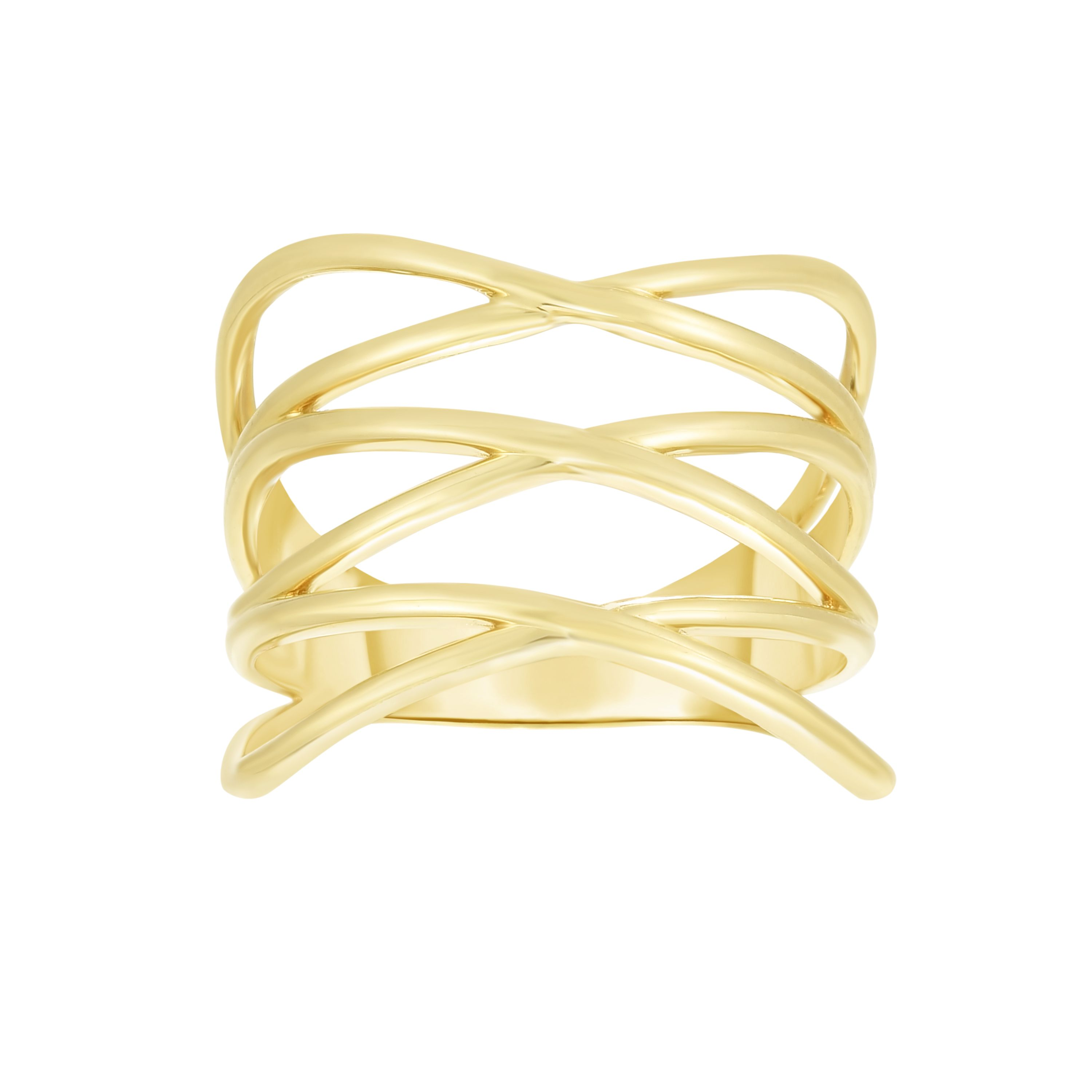 14kt Gold Size-7 Yellow Finish Crossover Ring