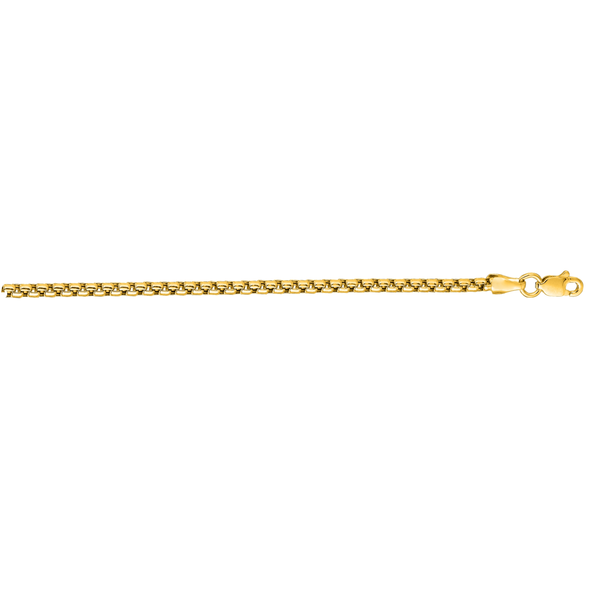 14kt 24 inches Yellow Gold 2.4mm Shiny Round Box Chain with Lobster Clasp