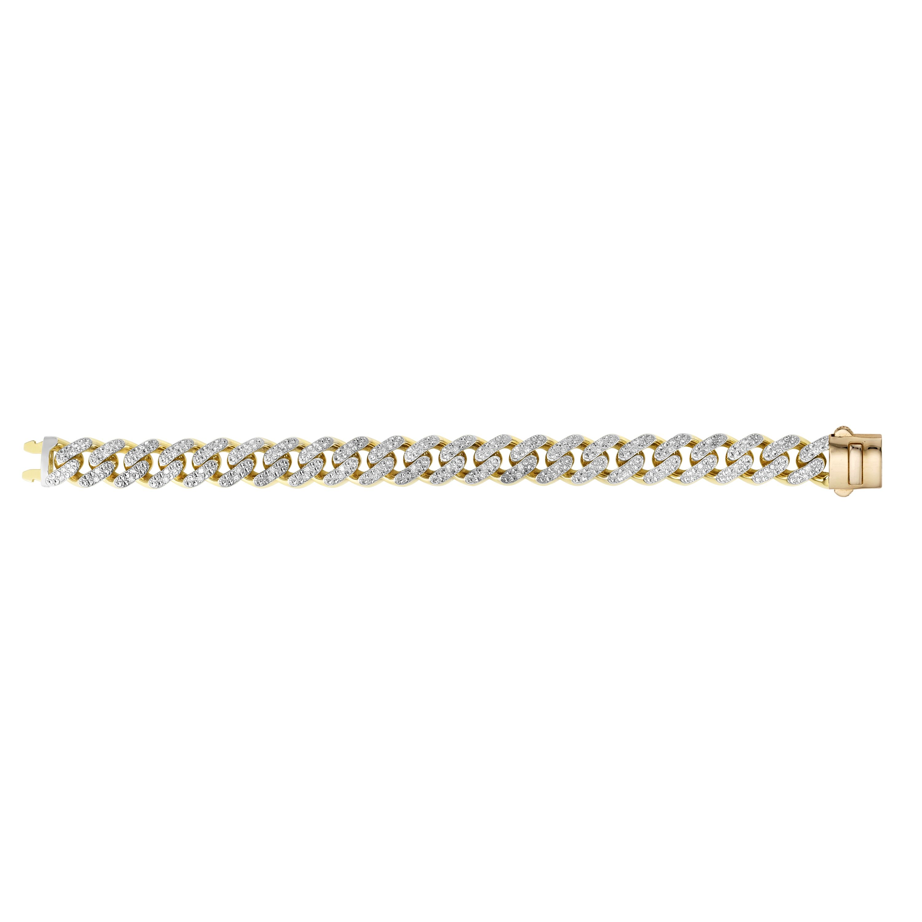 14kt Gold 8.5 inches Yellow Finish 13.5mm White Pave Curb Link Bracelet with Box Clasp + 1.4100ct 1.6mm White Diamond