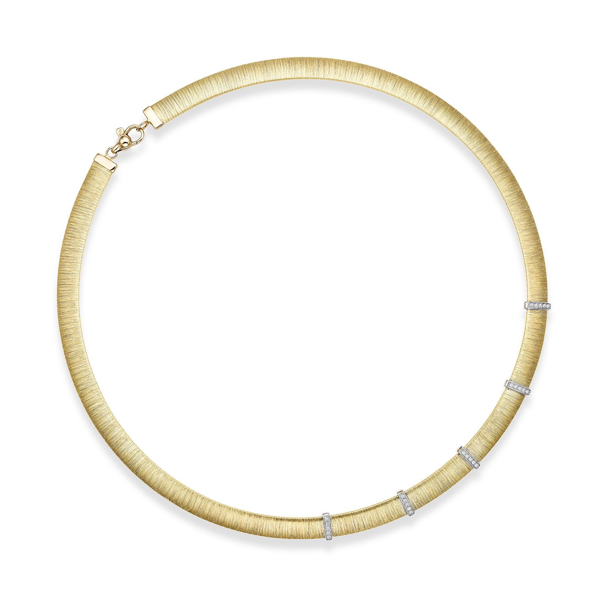 14kt Gold 17.75 inches Yellow+Rhodium Finish 8mm Textured Dome Bar Stationed Necklace with Lobster Clasp with 0.2500ct 1.3mm White Diamond