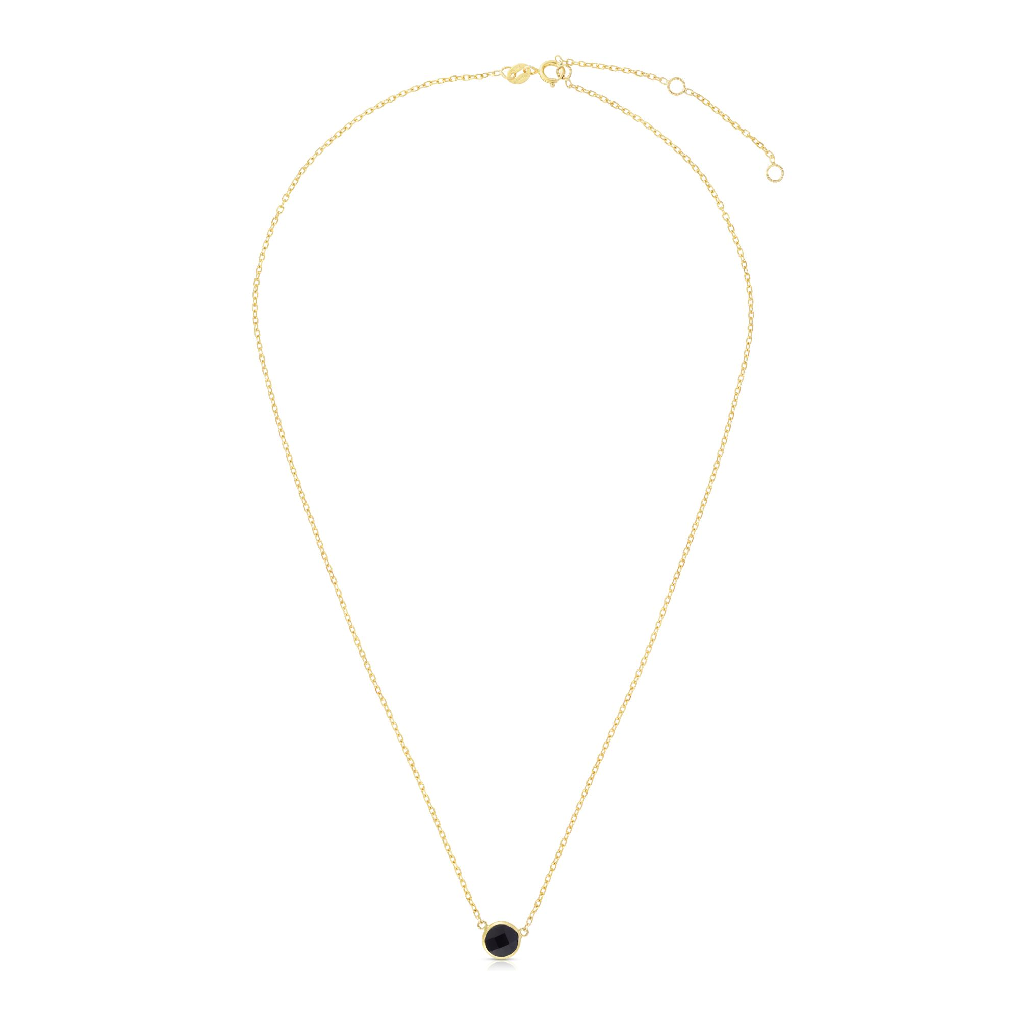 14kt Gold 17 inches Yellow Finish Extendable Colored Stone Necklace with Spring Ring Clasp with 0.9000ct 6mm Round Black Onyx