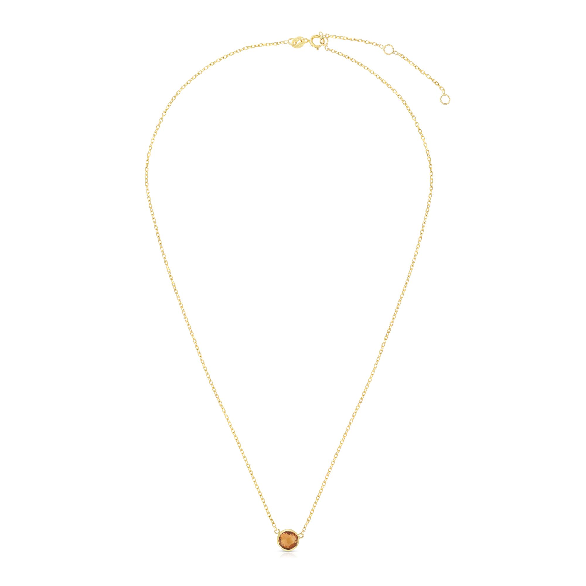 14kt Gold 17 inches Yellow Finish Extendable Colored Stone Necklace with Spring Ring Clasp with 0.9000ct 6mm Round Yellow Citrine
