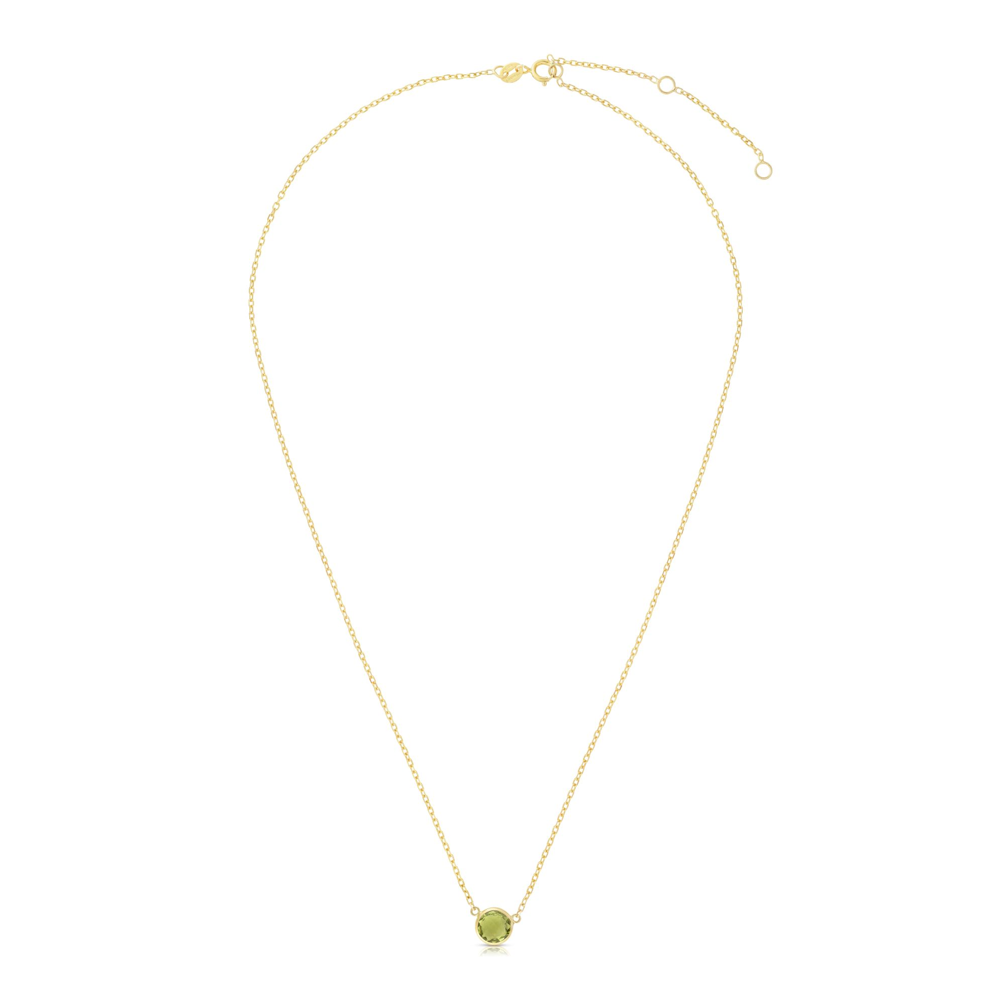 14kt Gold 17 inches Yellow Finish Extendable Colored Stone Necklace with Spring Ring Clasp with 0.9000ct 6mm Round Green Peridot