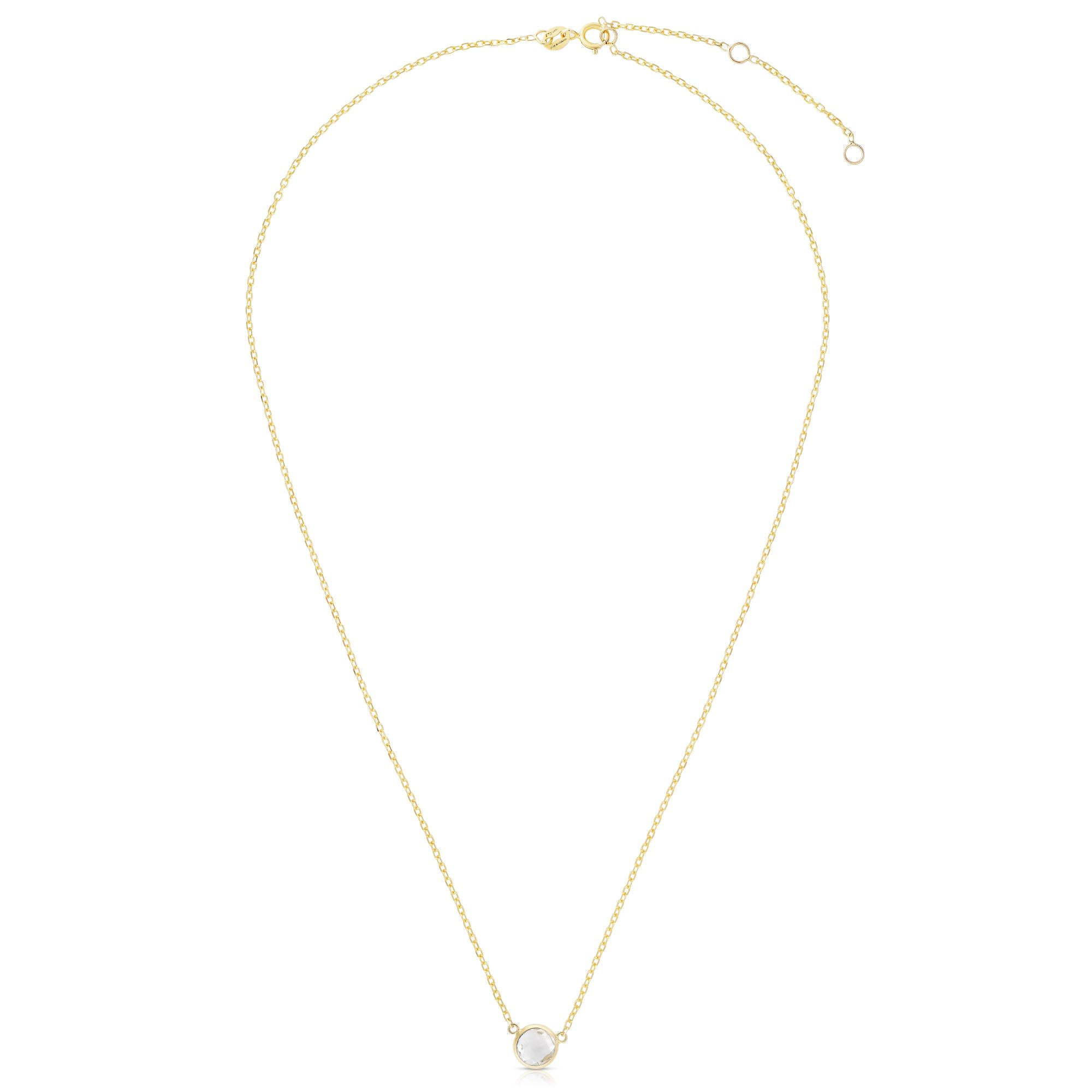 14kt Gold 17 inches Yellow Finish Extendable Colored Stone Necklace with Spring Ring Clasp with 0.9000ct 6mm Round Clear Topaz