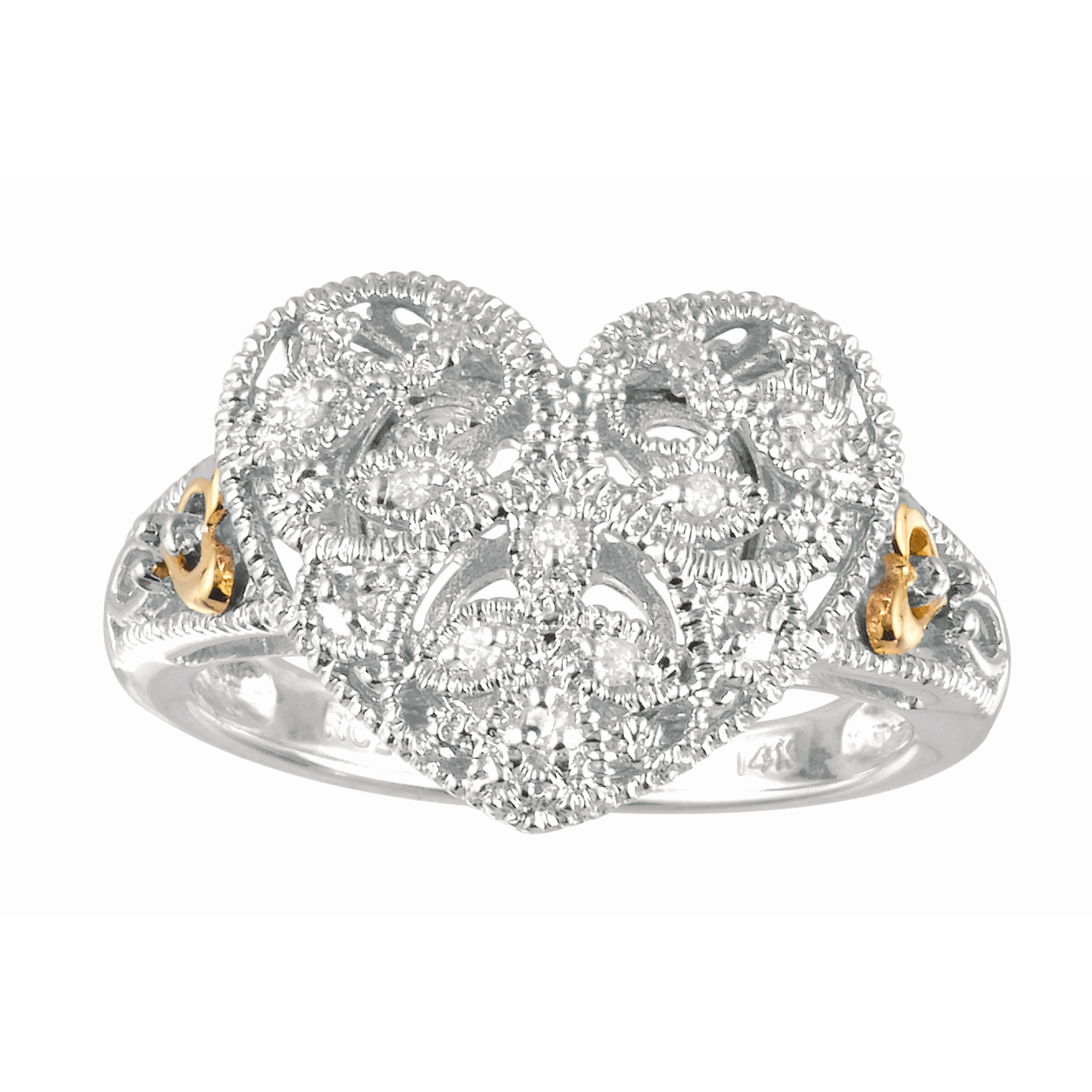 14kt Yellow Gold+Silver with Rhodium Finish Shiny Textured Fancy Heart Top Size 7 Ring with 0.06ct White Diamond