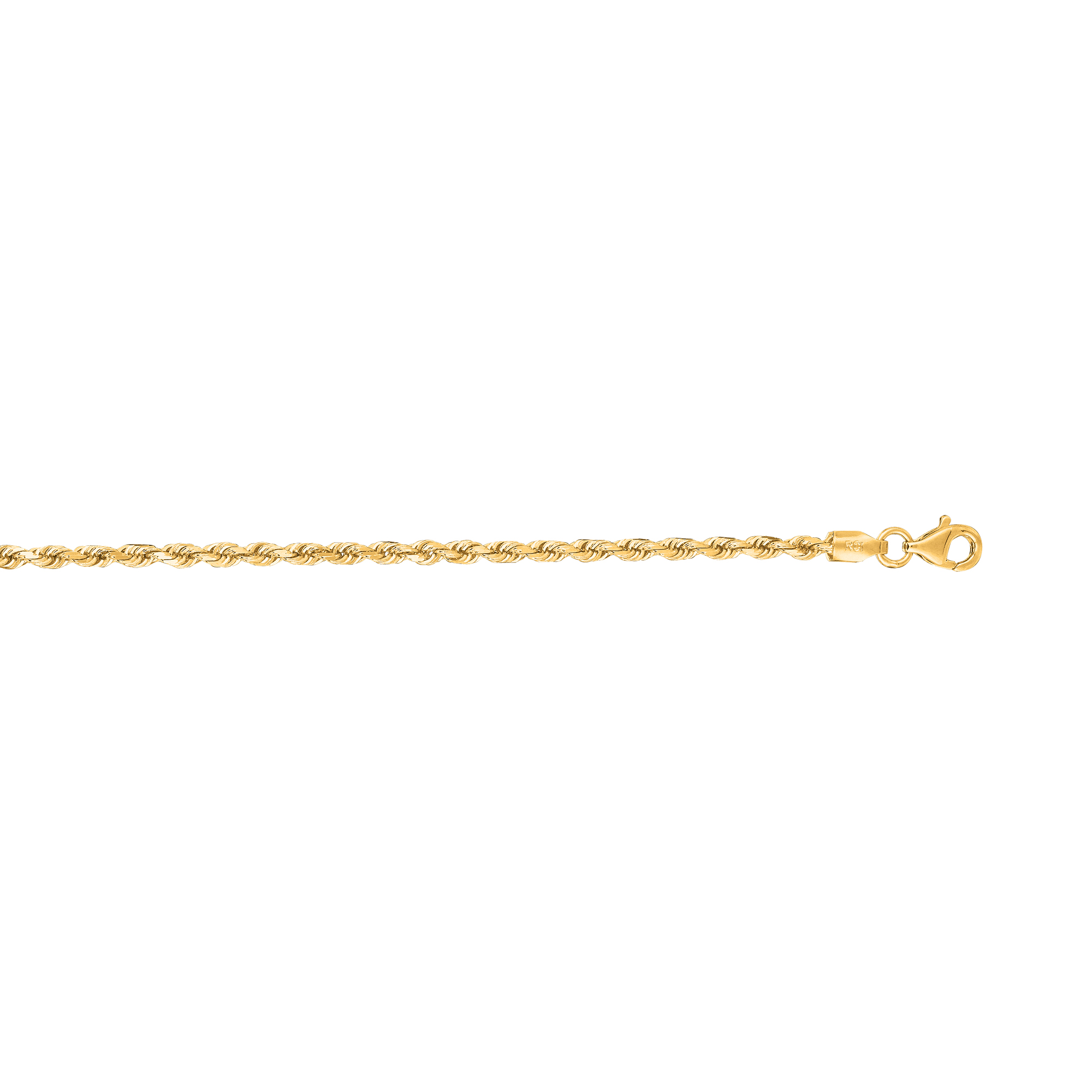 14kt 30 inches Yellow Gold 2.5mm Shiny Solid Diamond Cut Royal Rope Chain with Lobster Clasp
