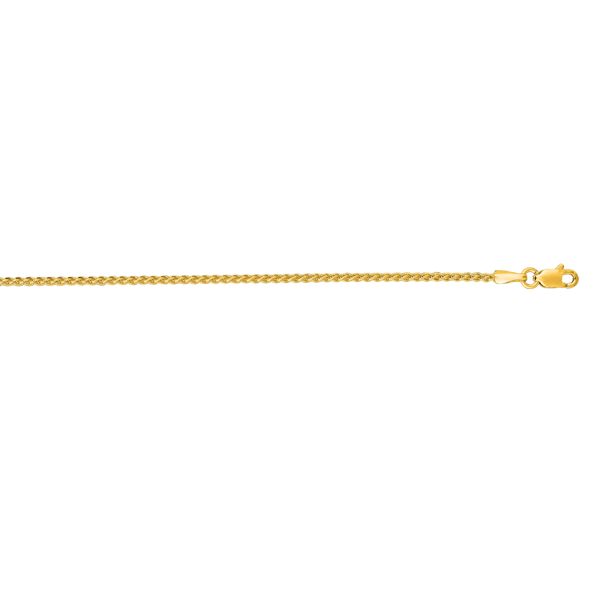 14kt 30 inches Yellow Gold 1.5mm Shiny Round Wheat Chain with Lobster Clasp