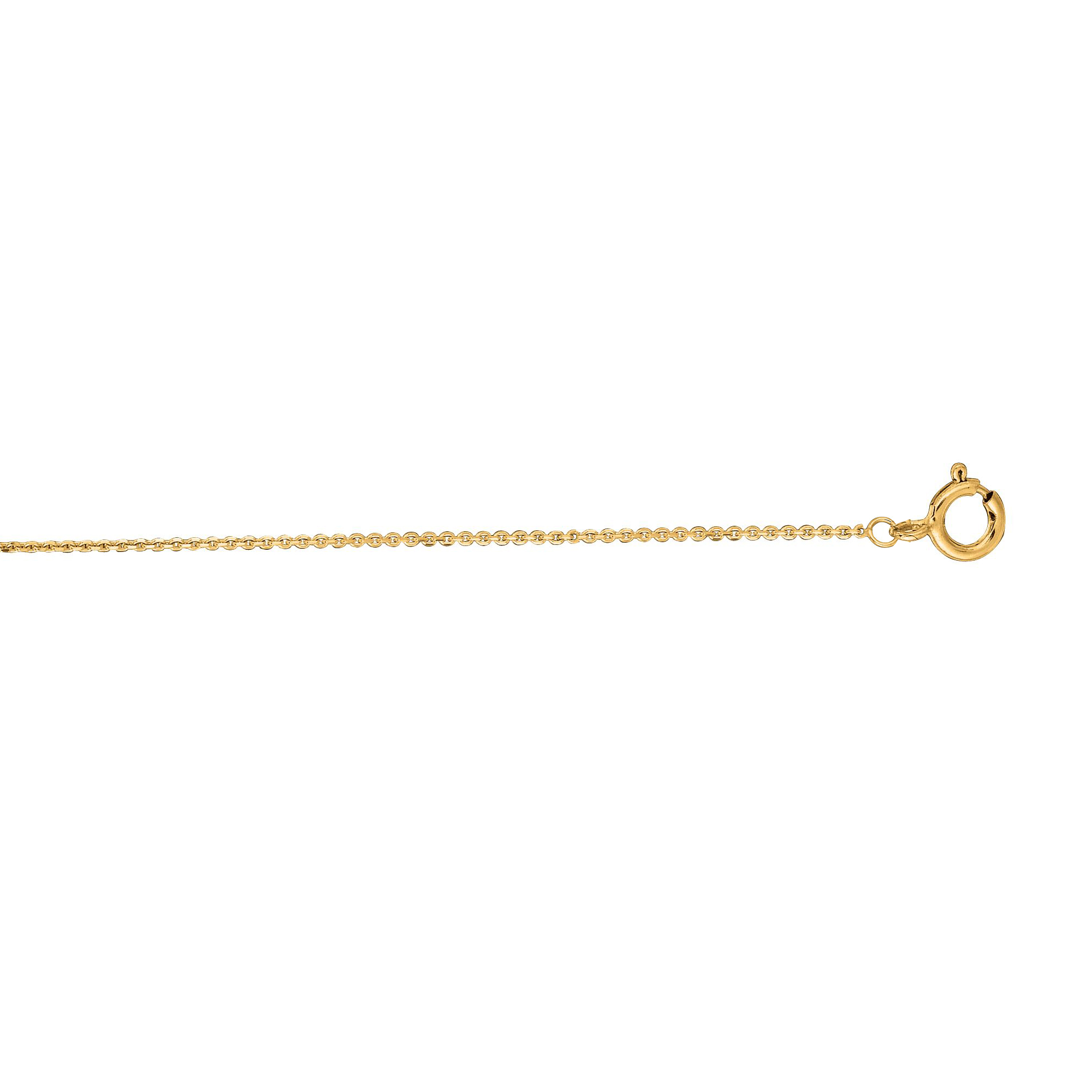 14kt Gold 20 inches Yellow Finish 0.5mm Diamond Cut Spring Ring Classic Cable Chain with Spring Ring Clasp