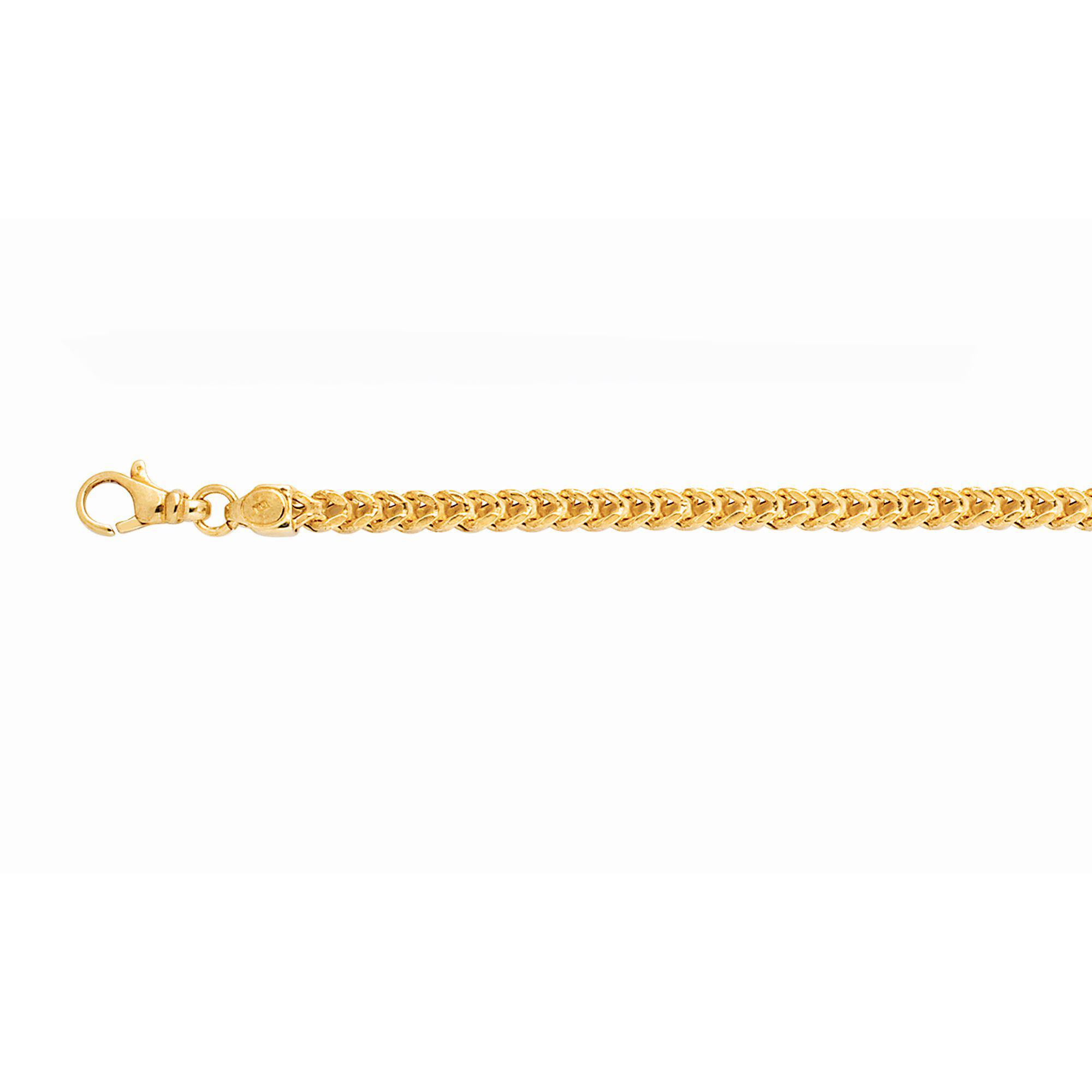 14kt 24 inches Yellow Gold 4.4mm Square Franco Chain with Lobster Clasp