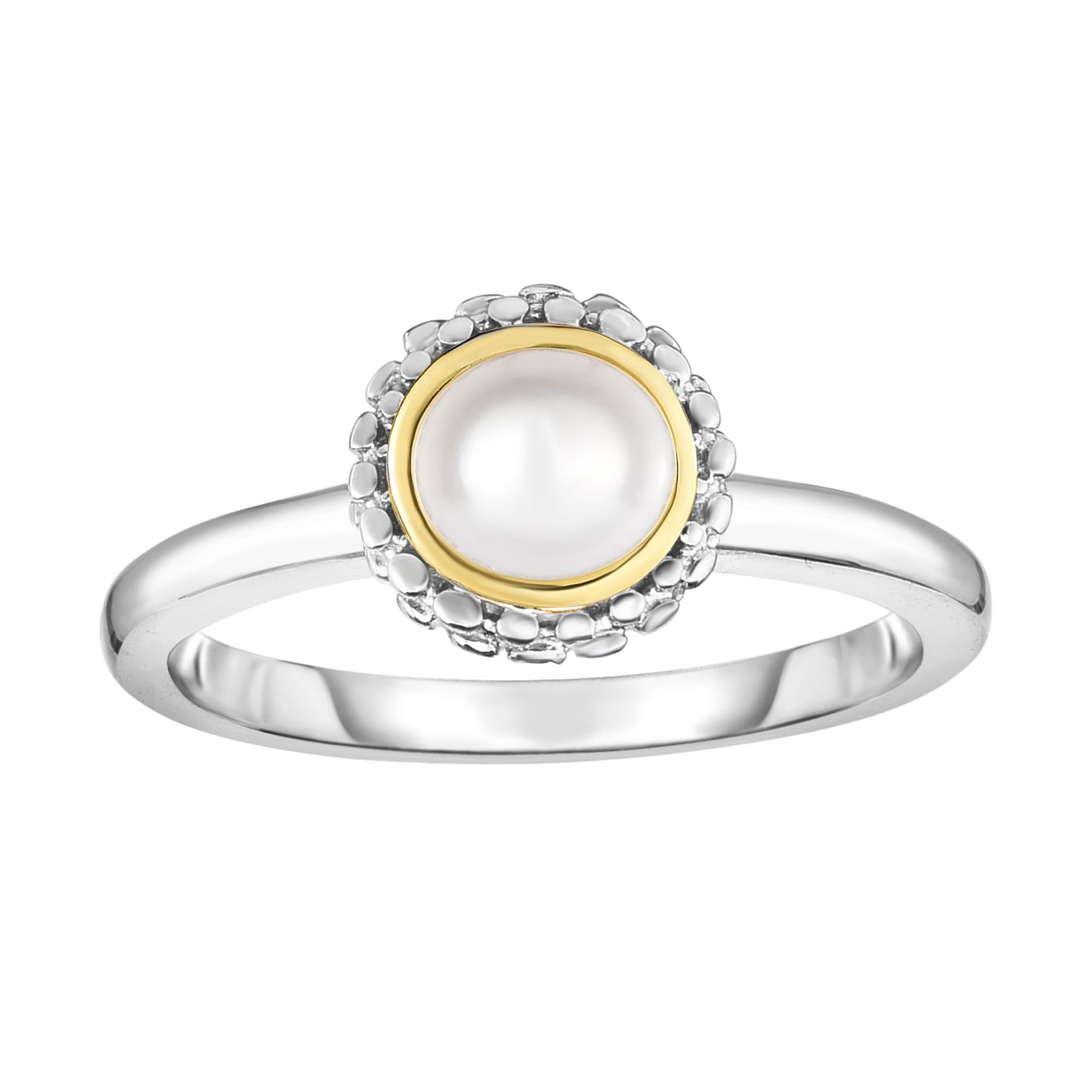 18kt+Silver Size-7 Yellow+Rhodium Finish ImageBased-TBR Shiny Fancy Ring +0.4000ct 4.5-5mm Ball White Pearl