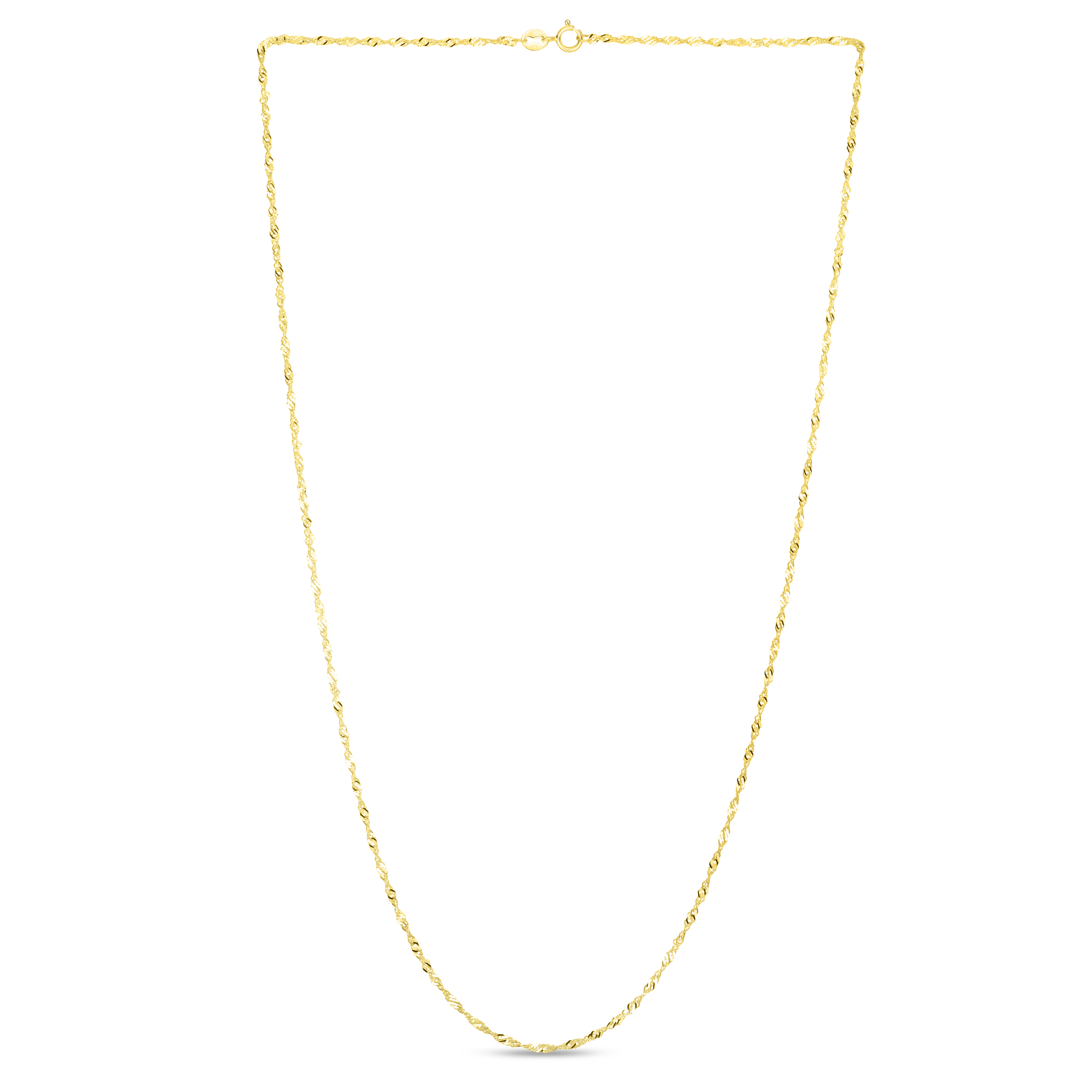 14kt 24 inches Yellow Gold 1.5mm Diamond Cut Singapore Chain with Spring Ring Clasp