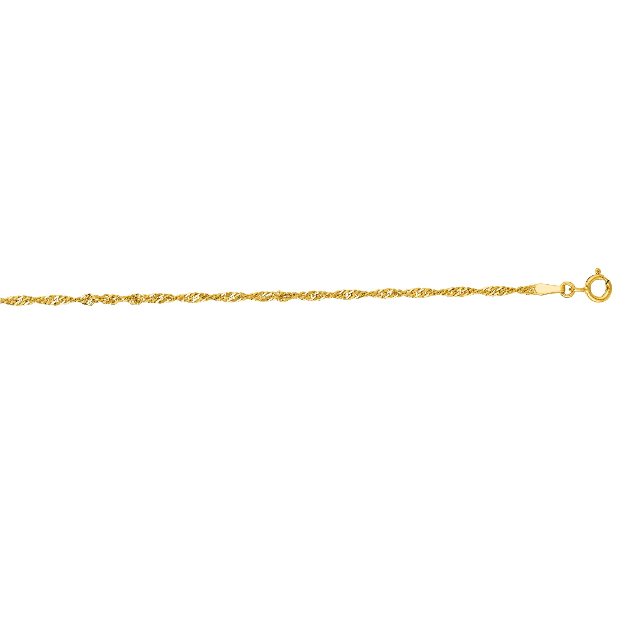 14kt 20 inches Yellow Gold 1.7mm Diamond Cut Singapore Chain with Spring Ring Clasp