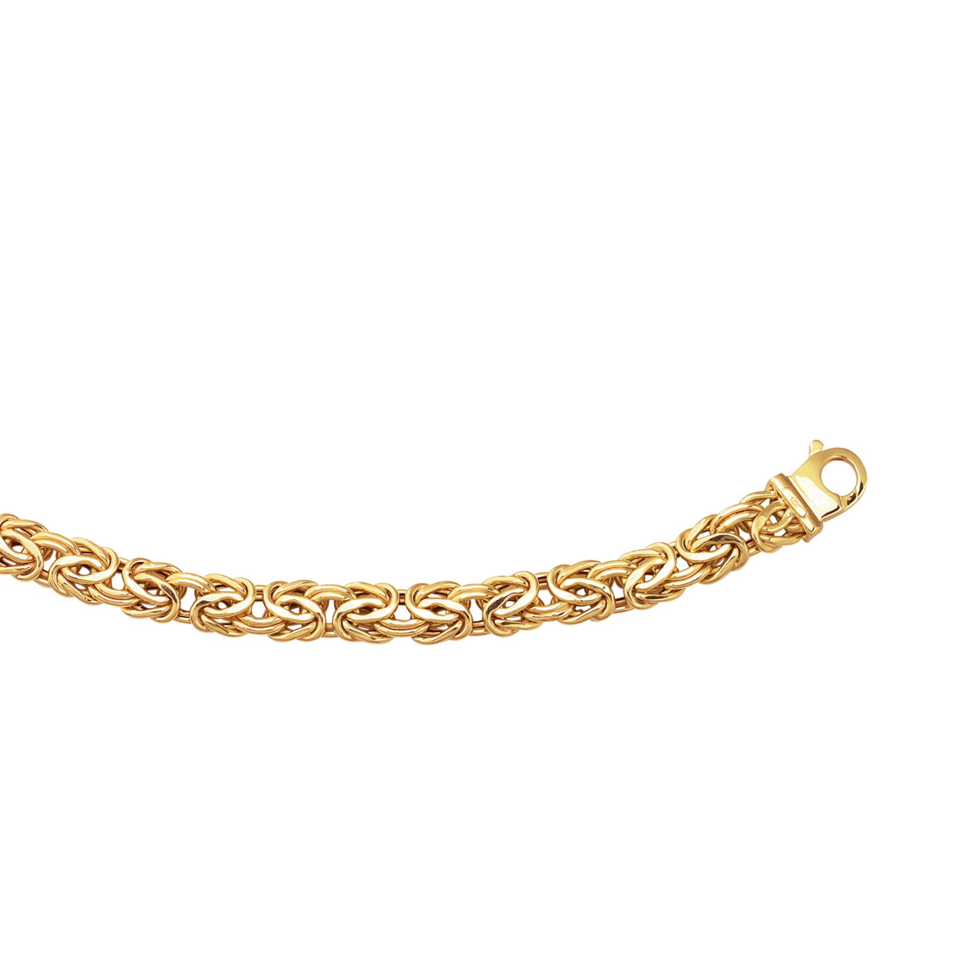 14kt 20 inches Yellow Gold 9.0mm Shiny Byzantine Fancy Necklace with Pear Shape Clasp