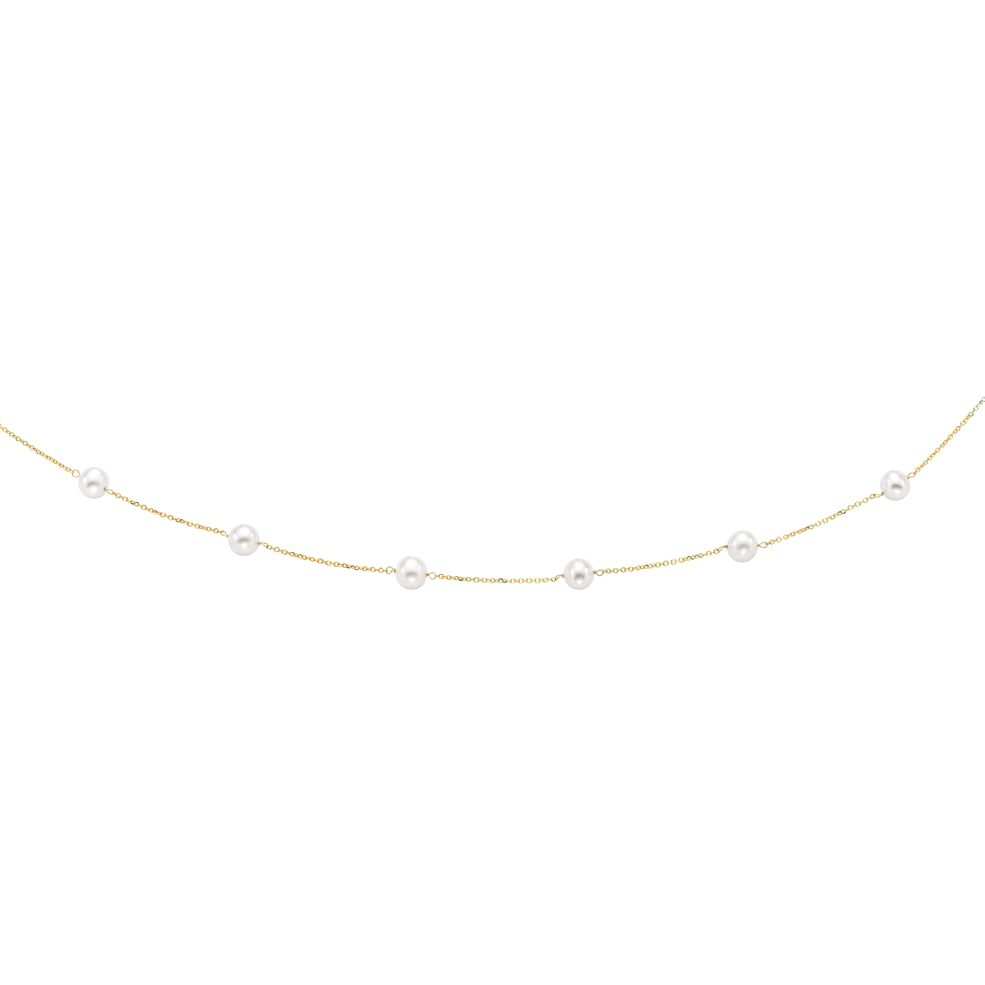 14kt 18 inches Yellow Gold 6-6.5mm White Pearl Tin Cup Necklace with Spring Ring Clasp