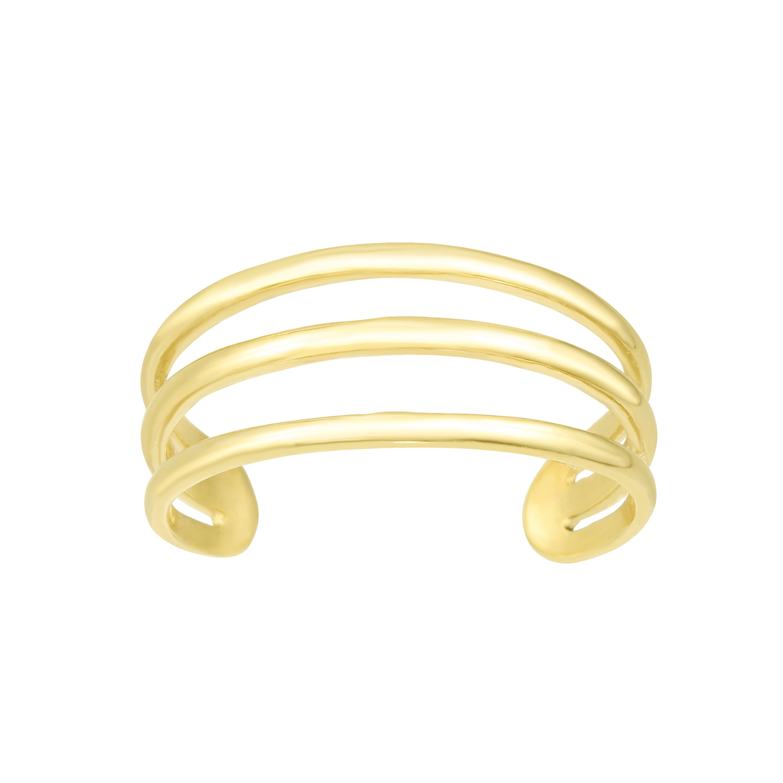 14K Gold Triple Row Open Bar Toe Ring