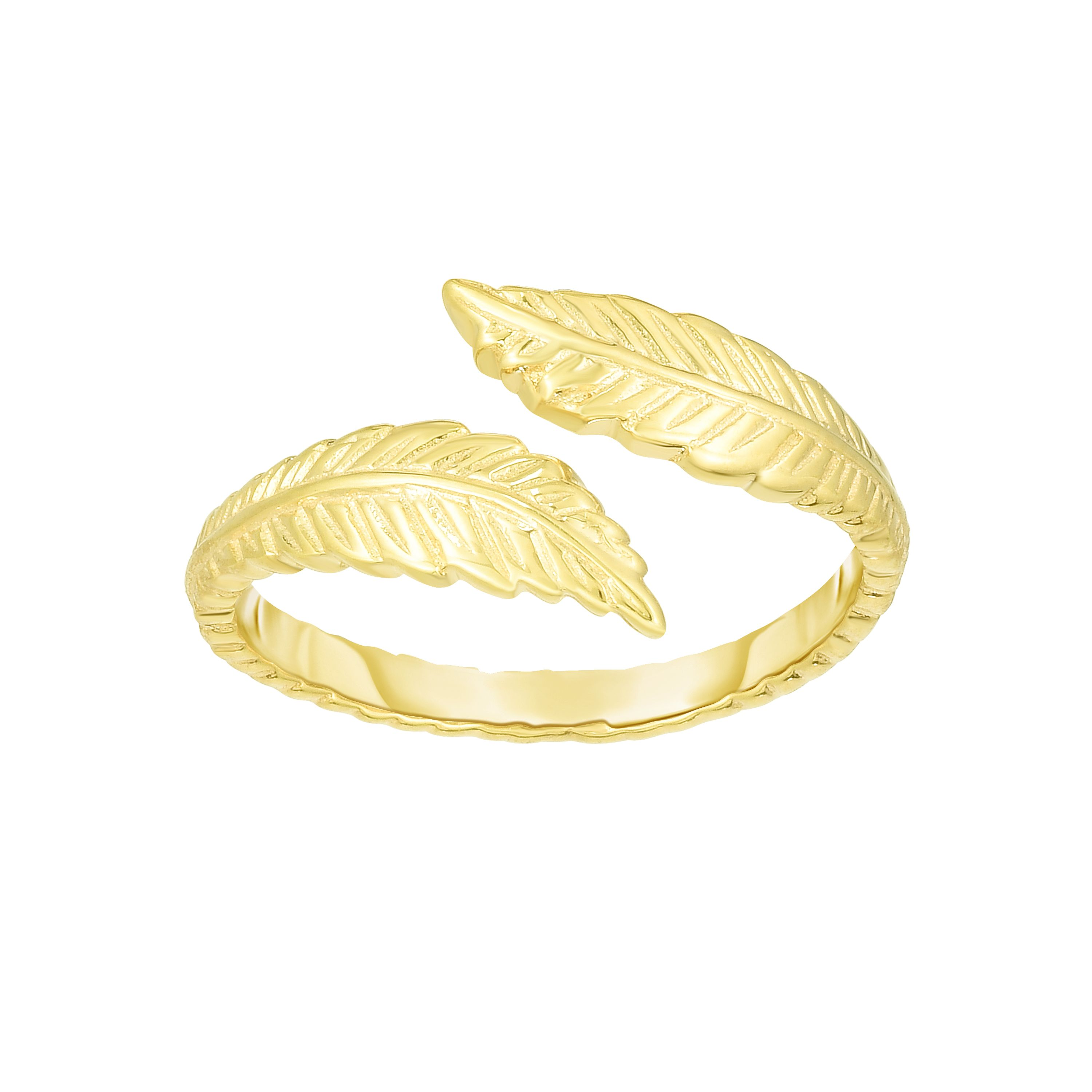 14K Gold Feather Bypass Toe Ring