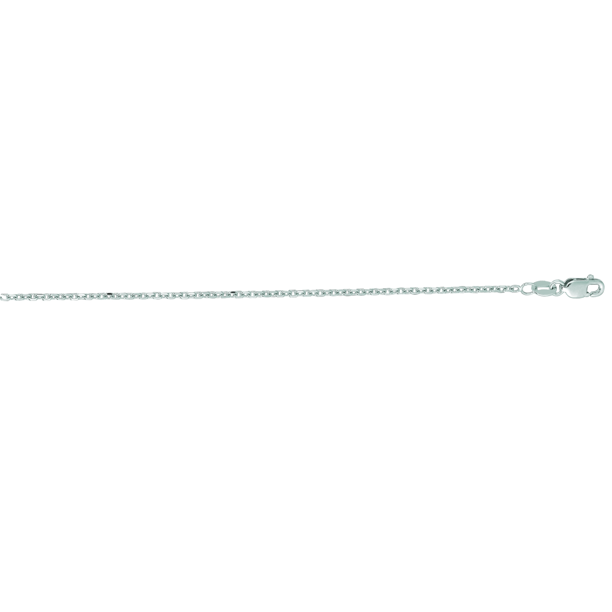 14kt 24 inches White Gold 1.5mm Diamond Cut Cable Link Chain with Lobster Clasp