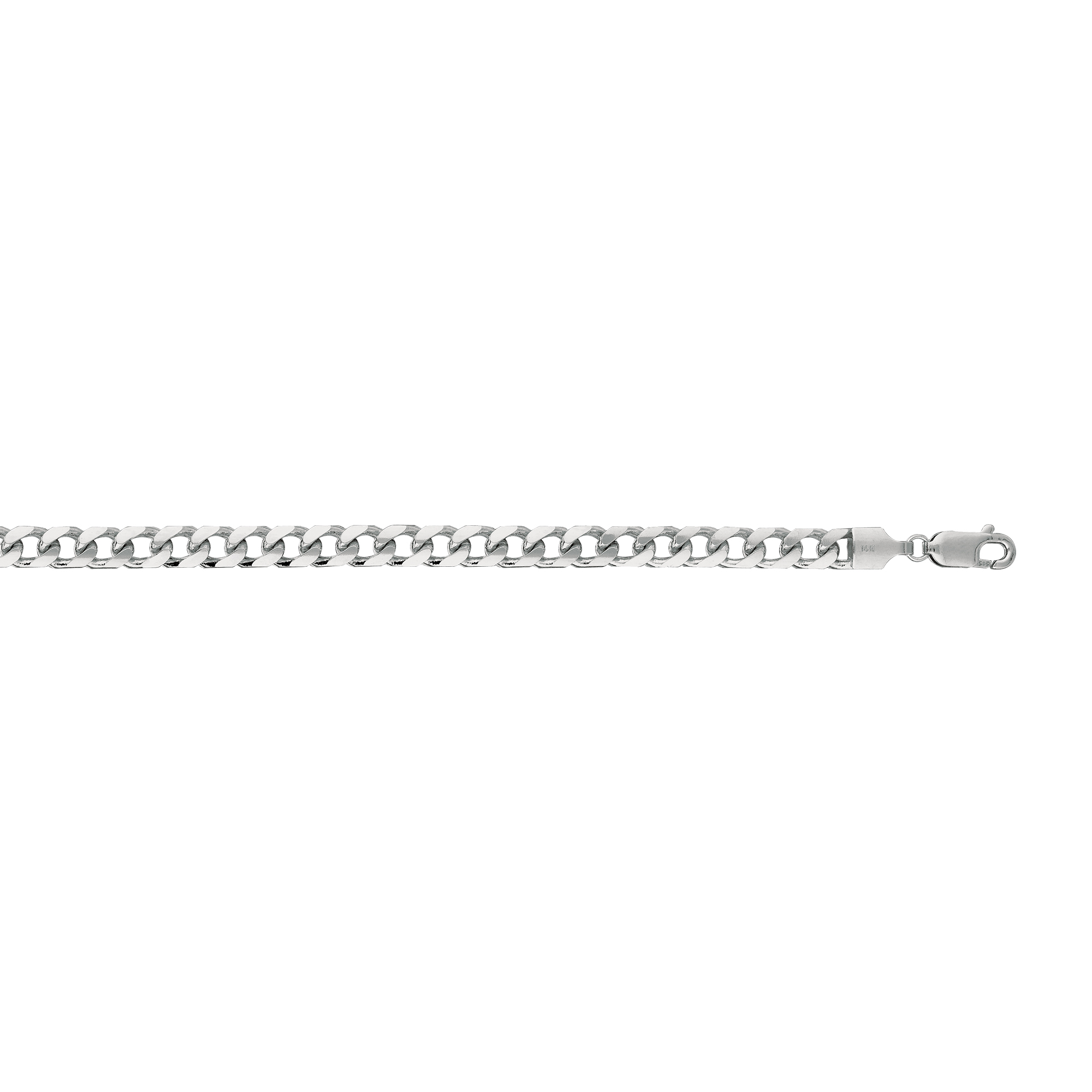 14kt 24 inches White Gold 4.4mm Diamond Cut Miami Cuban Link Chain with Lobster Clasp