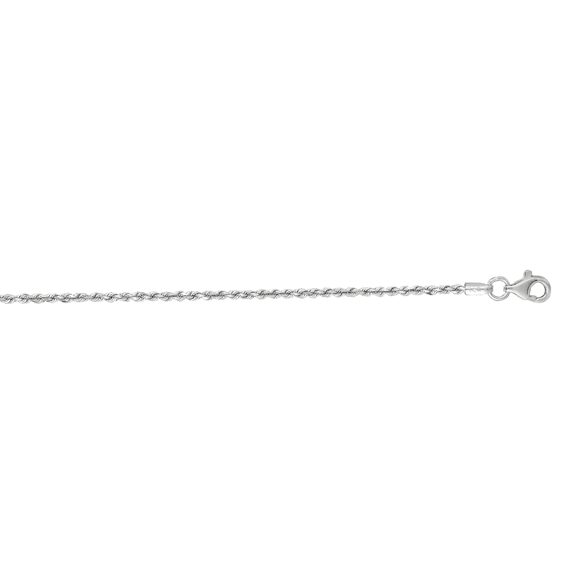 14kt 30 inches White Gold 1.5mm Shiny Solid Diamond Cut Royal Rope Chain with Lobster Clasp