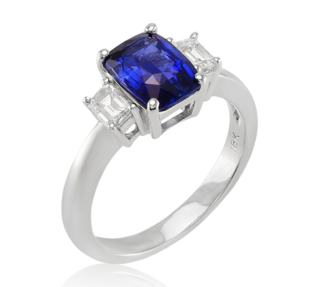 View 18k white gold ring with an GRS certified unheated Ceylon sapphire