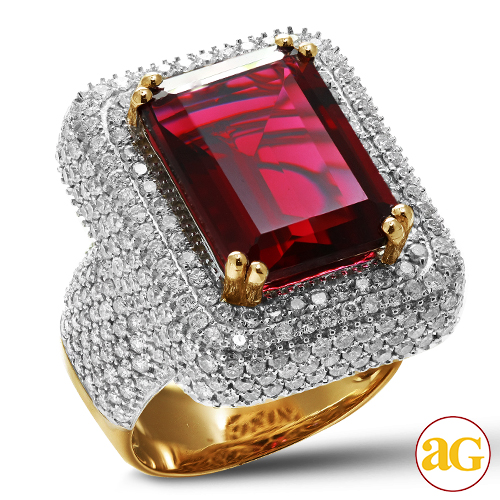 10KY 5.00CTW DIAMOND MENS RING WITH 15.59CT RUBY