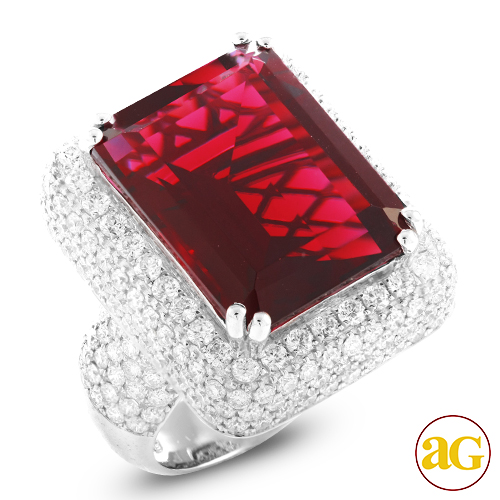 14KW 5.00CTW DIAMOND MENS RING WITH 23.52CT RUBY