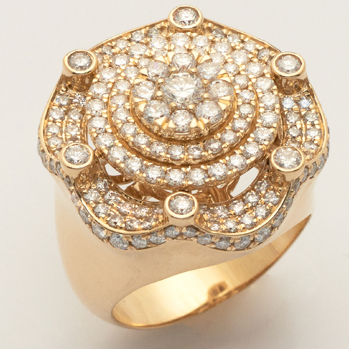 14KY 3.50CTW DIAMOND MENS CROWN CLUSTER RING