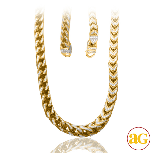 10KY 24.75CTW DIAMOND SOLID LINK FRANCO CHAIN