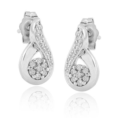 SS 0.15CTW DIAMOND FANCY EARRINGS